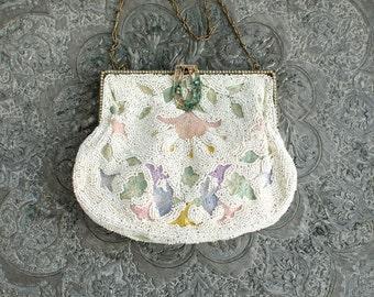 Vintage Art Deco Beaded Metal Filigree Frame Hand Embroidered Purse / Coin Purse- 1920's
