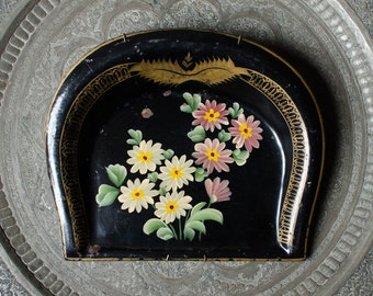 Vintage Tole / Toleware Tin Large Dustpan w/ Hand Painted Flowers
