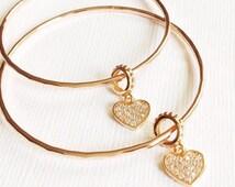 Heart charm bangle - CZ heart charm - micro pave heart bracelet - friendship bracelets (B263)