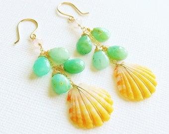 Sunrise shell earrings - chrysoprase sunrise shell earrings - sunrise shell jewelry - spring jewelry (E229)