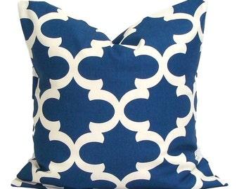 BLUE PILLOW.18x18. Pillow Cover.Decorative Pillow Cover.Housewares.Tile.Moroccan.Quatrefoil.Shamrock.Cushion.Cover.Blue.Blue Cushion.Pillow