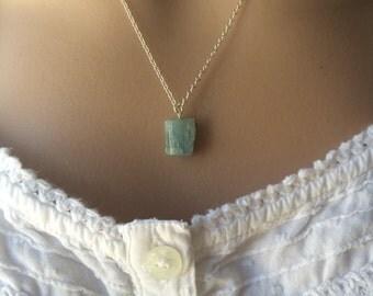 Raw Aquamarine Necklace, Aquamarine Necklace, Raw Aquamarine Pendant, Raw Aquamarine