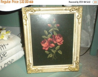 SUMMER SALE SALE.....Stunning French Provincial Framed Needlepoint Roses, Shabby Chic, French, French Country,Eclectic