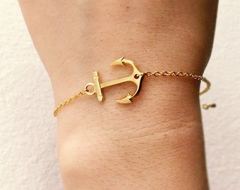 Anchor bracelet, simple bracelet, strength, sailor anchor charm, gold anchor bracelet, white gold anchor bracelet
