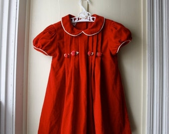 ON SALE Vintage red velvet dress with rosebuds and satin trim / Valentine baby dress / baby girl  18 to 24 months