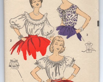 "1950's Advance Blouse with raglan sleeves Pattern - Bust 34"" - No. 6754"