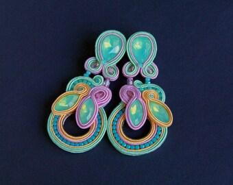 soutache earrings, crystals earrings, long earrings, wedding earrings, bridal earrings, braid earrings, pastel earrings, jewellery for bride