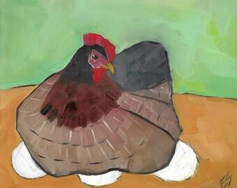 Hen On Eggs Original Oil Painting