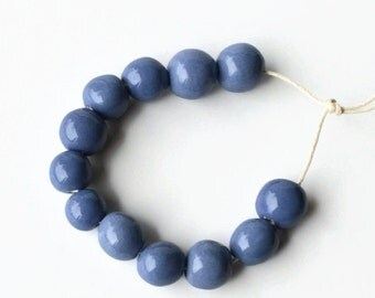 Beads from South Africa, African beads, handmade beads, ceramic beads, pottery beads, cornflower blue beads,  beads, glazed beads