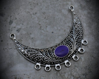Silver Plated Pendant With Purple Enamel