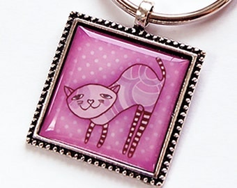 Cat Key Ring, Cat Key Chain, Keychain, keyring, stocking stuffer, under 10, Cat Lover, Gift for cat lover, pink, Gift for her (5784)
