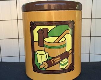 Vintage  Flour Tin Container