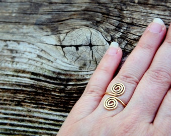Gold - filled wire ring ~ Adjustable Ring ~ Spiral ring ~ Infinity ring ~ gold filled ~ tribal ~ gypsy~ fairy ring ~ gold ring