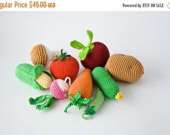 SALE Crochet Vegetables, Set of 9 - beet, corn, radish, tomato, carrot, cucumber, potato, mushroom, pea pod   - play food - FrejaToys