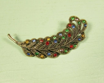 Little Nemo Leaf Brooch - Vintage Multi Color Rhinestone Pin
