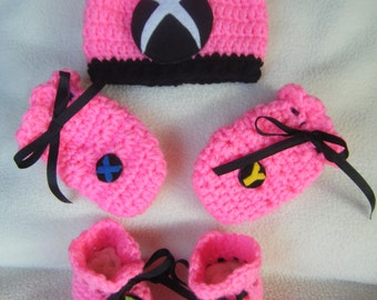 Crocheted Baby Girl Xbox Hat, Mittens and Booties Set - Handmade By Me