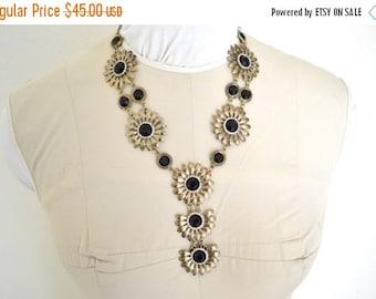 ON SALE Vintage Flowered Black Stone Necklace