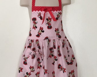 Girls Full Apon, Childrens Minnie Mouse Apron, Childs Apron, Pretend Play, Kitchen Cooking Apron, Childrens Clothing, Girls Gift