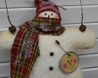 Primitive Prim Snowman Ornament Ornie with Country Red Hat and Scarf