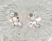 Art Deco Bridal Earrings- Blush Bridal Studs-Blush Earrings-Blush Wedding Earrings-Champagne Pink Studs-Vintage Inspired Studs- Brass Boheme