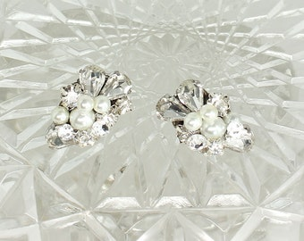 Art Deco Bridal Earrings-Pearl Bridal Studs-Bridal Cluster Earrings- Clips-Rhinestone Wedding Earrings- Vintage Inspired Studs- Brass Boheme
