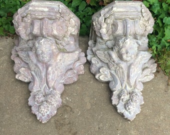 Stunning Huge Vintage Hayes Parker Wall Pocket Cast Stone Concrete Wall Sconce Garden Wall Planter 2 Available