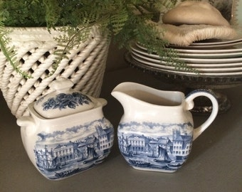 Vintage Ironstone Sugar and Creamer Set Antique English Enland Ironstone Blue and White Transferware Historical Ports of England