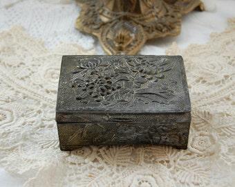Antique French jewellery box, metal trinket box, Chrysanthemum design, floral design, decorative box, worn silver gilt finish, vintage box