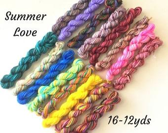 Summer Love - 16 Sock Yarn Mini Skeins  - 12 yds each, 192yds total
