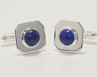 Lapis Octagon Cuff Links Hand Crafted Regnas Sterling Silver 925