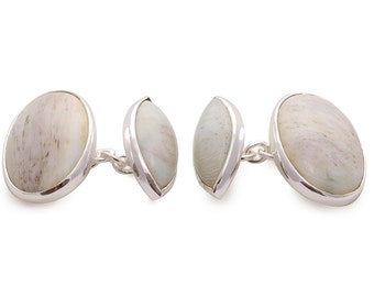 Woodfossil Double Oval And Lozenge Shape Cufflinks Regnas Sterling Silver 925