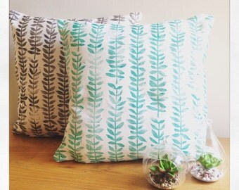 Jade green hand block printed succulent decorative pillow cover