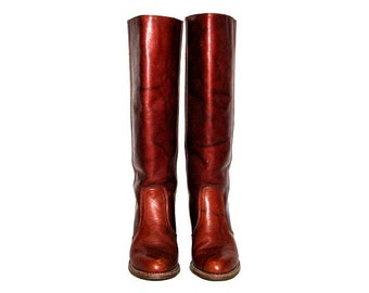 Vintage 70s DEXTER Cognac Tall Leather High Heel Boots- Size 7.5