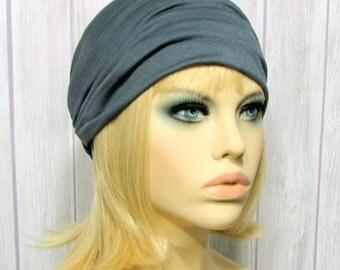 Wide Fabric Elastic Headband for Women in Charcoal Gray, Tapered Women's Headbands