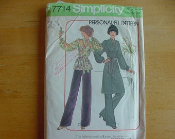 Vintage 1970s Simplicity Pattern 7714, Misses Pullover Dress or Tunic and Pants, Variations, Multi-Size 12-14, Uncut