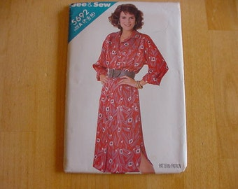 Vintage, Uncut, 1980s Butterick See & Sew Pattern 5692,  Misses Loose Fitting, Straight Dress, Multi Size Misses Size P-S-M