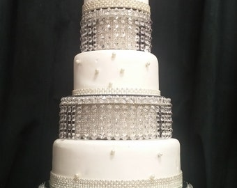 Faux crystal tiered stacked crystal cake stand separators  + LED All  sizes are sold separately