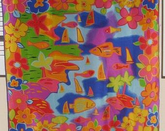 Vintage Near Mint ECHO Silk Scarf Colorful Tropical