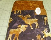 Moose Bible cover, outdoor lover gift, masculine, men man father dad brother hunter hunting fishing, brown batik, elk horn leather button,