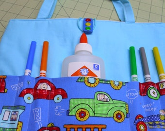 Kids coloring tote, activity holder, busy bag, crayon case, crayons, marker markers, chalkboard chalk cloth, tablet sleeve, fabric purse