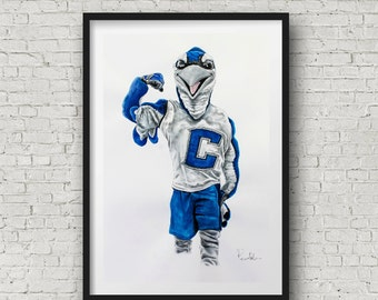 Creighton University  Billy the Bluejay drawing art print limited edition by Pierre Bolouvi