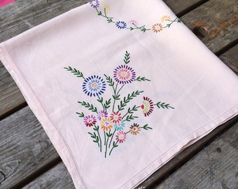 Lovely pale pink hand embroidered vintage table cloth