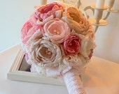 Weddings Bouquet, Bridal Bridesmaids Dusky Pink Ivory Antique Pink Flowers Bouquet, Handmade Chabby Chick Brooch Silk Flowers Bouquet Pearls