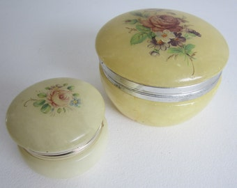 Vintage Painted Marble Trinket Boxes - Flowers - Two Hinged Boxes - Lidded Collectible Box - Cottage Chic Decor Bedroom - Bath -