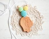 BLACK FRIDAY SALE Funky Hippo Nursing necklace - teething toy - Babywearing - breastfeeding -  beech pendant