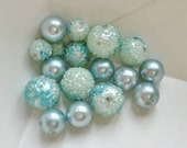 vintage french blue frozen frosty stippled and smooth iridescent round ball bead assorted--lot of 17