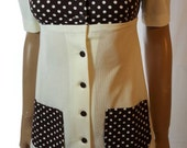 60s/70s Vintage Polka Dot Detail Button Front Spoon Collar Scooter/Mini Dress.