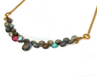 Labradorite Necklace. Briolette Necklace Pink Tourmaline and Apatite in Gold filled or Sterling Silver. NS-2031