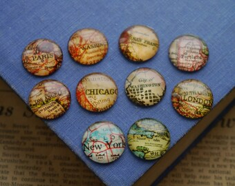 6 pcs 20mm Round Map New York, Chicago, Portland, Los Angeles, London, Circle Glass Cabochons (SFC2728)