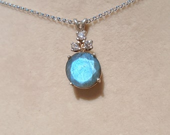 Labradorite Pendant with 1.5MM Sterling Silver Rolo Chain 18 Inches